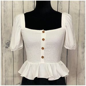 Tops - New!!!! Button Front Smocked Top